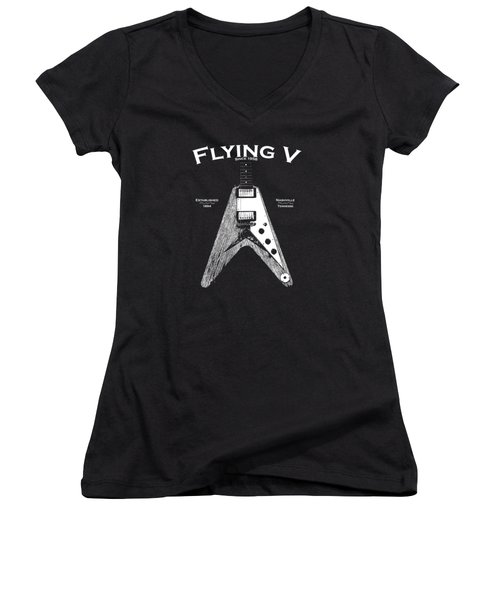 Gibson Flying V Women's V-Neck T-Shirt (Junior Cut) by Mark Rogan