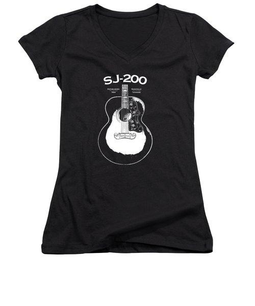 Gibson Sj-200 1948 Women's V-Neck T-Shirt (Junior Cut)
