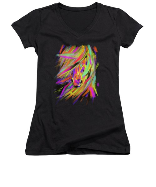 Horse Rainbow Hair Women's V-Neck