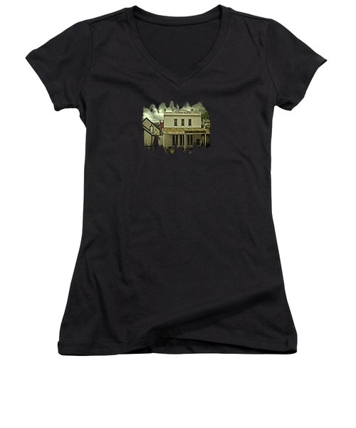 Women's V-Neck T-Shirt (Junior Cut) featuring the photograph The Eagle Theater And Skalet Family Jewelers Old Sacramento by Thom Zehrfeld