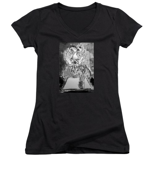 Old Geezer Grappling With A White Sheet Of Paper Women's V-Neck T-Shirt (Junior Cut) by Alfred Motzer