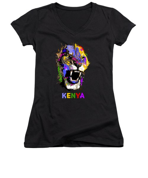 Women's V-Neck T-Shirt (Junior Cut) featuring the painting Cat Snarl by Anthony Mwangi