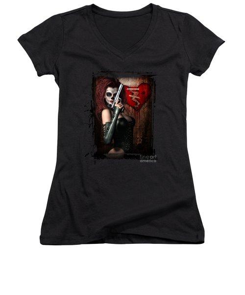 Sugar Doll Long Night Of The Dead Women's V-Neck T-Shirt