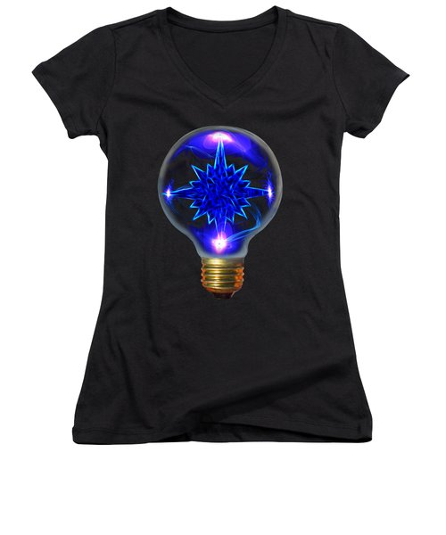 A Bright Idea Women's V-Neck T-Shirt (Junior Cut) by Shane Bechler