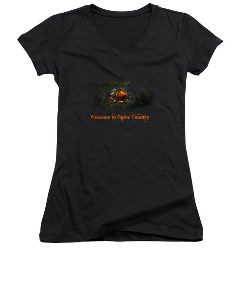 Welcome To Gator Country Women's V-Neck T-Shirt (Junior Cut) by Mark Andrew Thomas