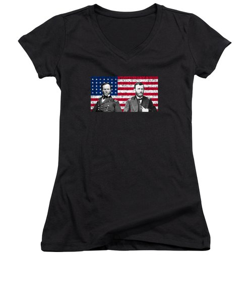 Generals Sherman And Grant  Women's V-Neck (Athletic Fit)