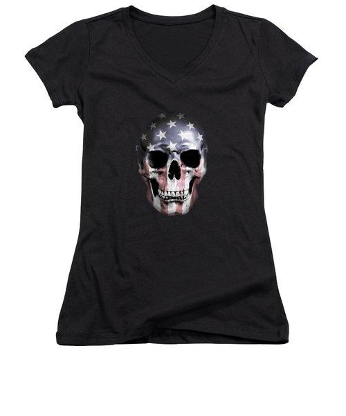 Women's V-Neck T-Shirt (Junior Cut) featuring the digital art American Skull by Nicklas Gustafsson