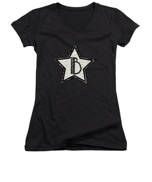 Star Of The Show Art Deco Style Letter B Women's V-Neck T-Shirt (Junior Cut)