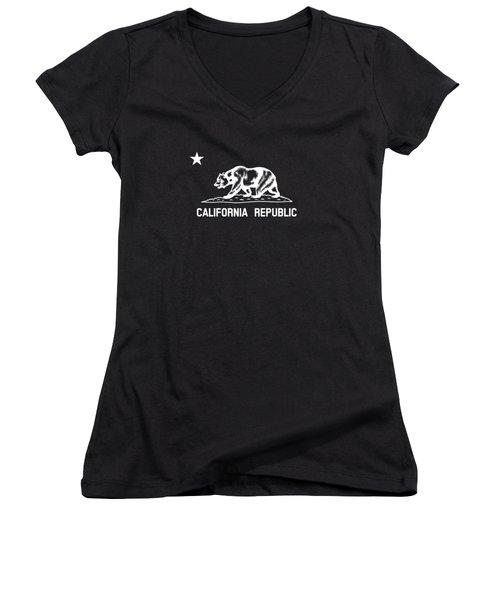 The Bear Flag - Black And White Women's V-Neck T-Shirt (Junior Cut)
