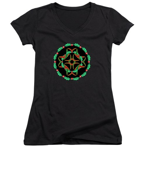 Celtic Christmas Holly Wreath Women's V-Neck T-Shirt (Junior Cut) by MM Anderson