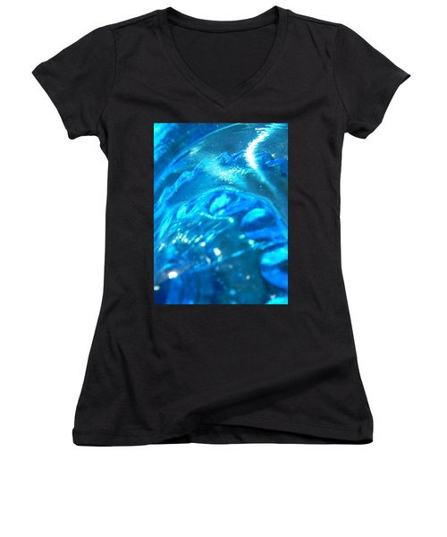 The Beauty Of Blue Glass Women's V-Neck T-Shirt (Junior Cut) by Samantha Thome