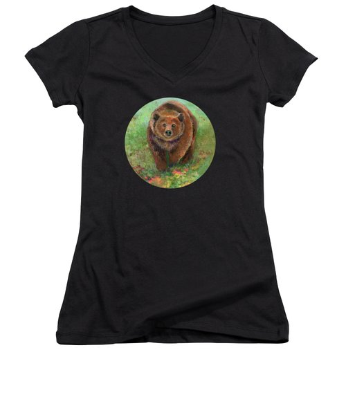 Grizzly In The Meadow Women's V-Neck