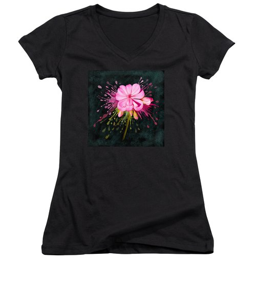 Women's V-Neck featuring the painting Color Eruption  by Ivana Westin