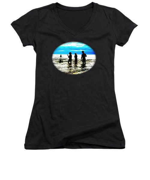 Hot Night At The Beach Women's V-Neck T-Shirt