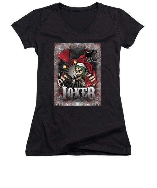 Joker Poker Skull Women's V-Neck