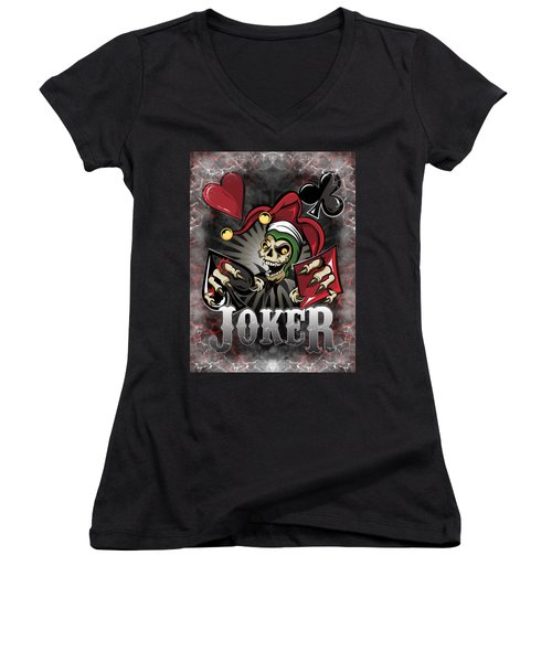 Joker Poker Skull Women's V-Neck