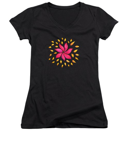 Abstract Whimsical Watercolor Pink Flower Women's V-Neck T-Shirt