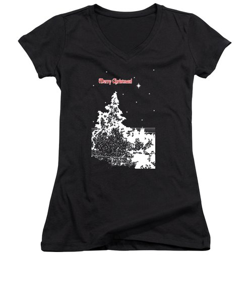 Winter's Night Women's V-Neck T-Shirt