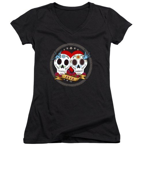 Love Skulls II Women's V-Neck T-Shirt (Junior Cut) by Tammy Wetzel