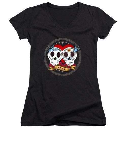 Love Skulls II Women's V-Neck T-Shirt (Junior Cut)