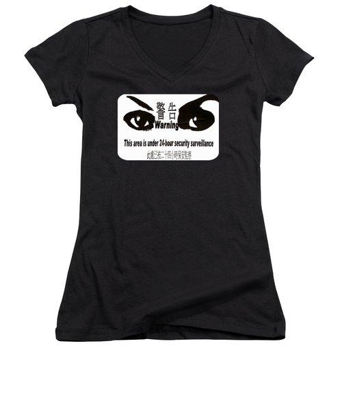 Eye Spy Women's V-Neck T-Shirt (Junior Cut) by Ethna Gillespie