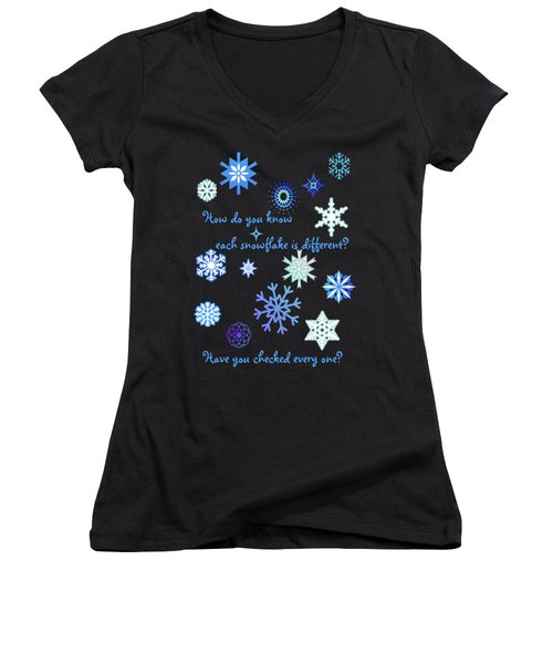 Snowflakes 2 Women's V-Neck T-Shirt (Junior Cut) by Methune Hively