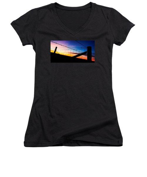Women's V-Neck T-Shirt (Junior Cut) featuring the photograph Hilltop Sunset by Bill Kesler