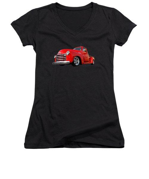 1952 Chevrolet Truck At The Diner Women's V-Neck T-Shirt (Junior Cut)