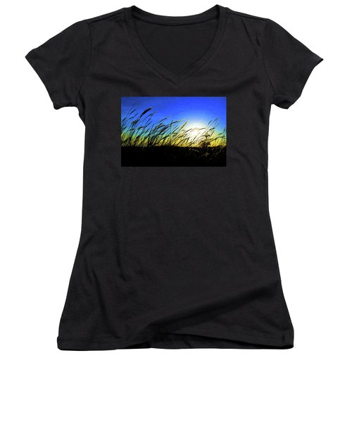 Tall Grass Women's V-Neck T-Shirt (Junior Cut) by Bill Kesler