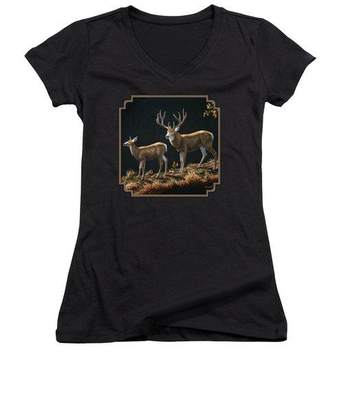 Mule Deer Ridge Women's V-Neck T-Shirt (Junior Cut) by Crista Forest
