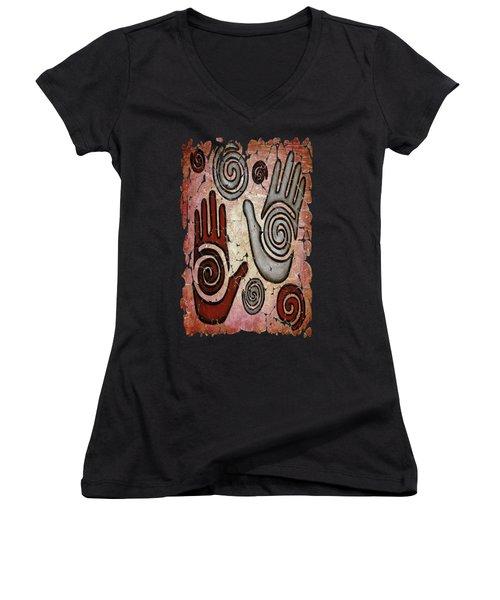 Healing Hands Fresco Women's V-Neck T-Shirt