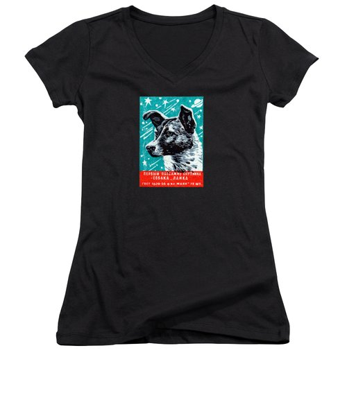 1957 Laika The Space Dog Women's V-Neck T-Shirt (Junior Cut) by Historic Image
