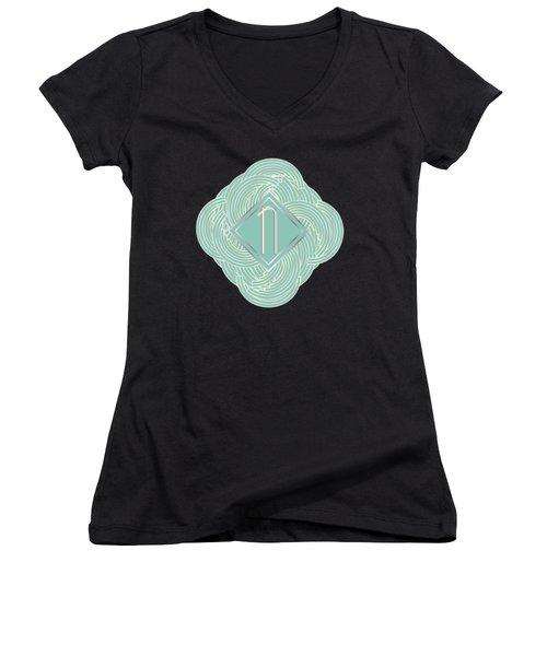 1920s Blue Deco Jazz Swing Monogram ...letter N Women's V-Neck T-Shirt (Junior Cut)