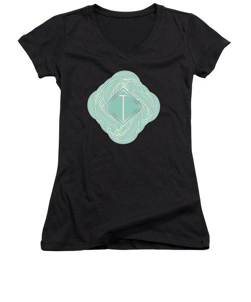 1920s Blue Deco Jazz Swing Monogram ...letter T Women's V-Neck T-Shirt (Junior Cut)