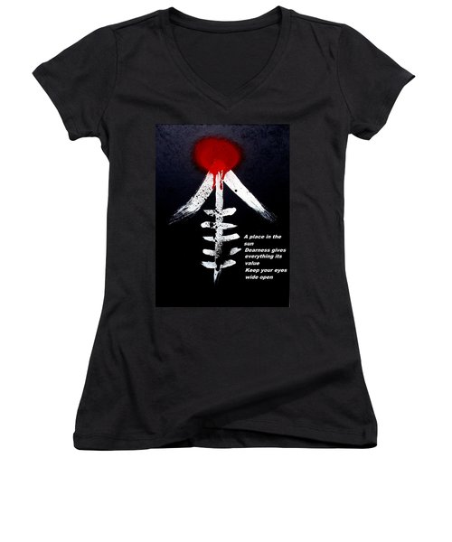 Women's V-Neck T-Shirt (Junior Cut) featuring the painting  Asahinoataruie by Roberto Prusso