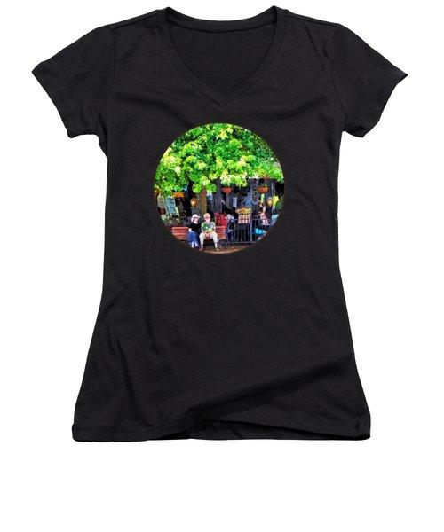 Asheville Nc Outdoor Cafe Women's V-Neck T-Shirt (Junior Cut) by Susan Savad
