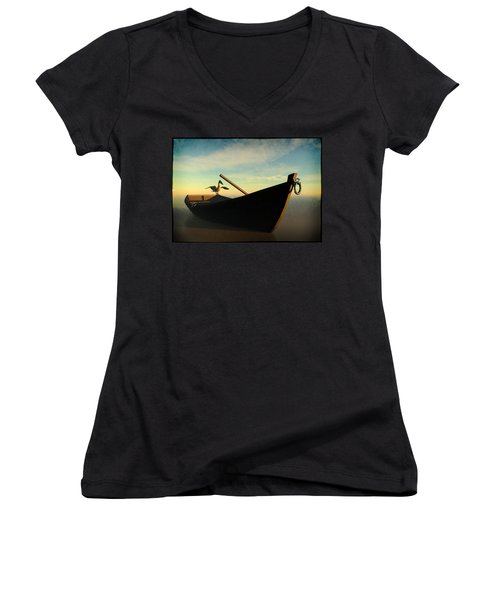 Ashore... Women's V-Neck T-Shirt (Junior Cut) by Tim Fillingim
