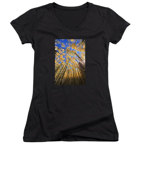 Aspen Hues Women's V-Neck T-Shirt (Junior Cut) by Tom Kelly