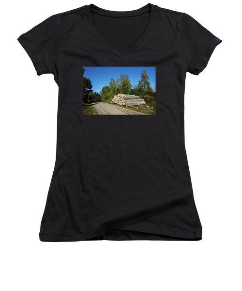 Women's V-Neck T-Shirt featuring the photograph Aspen Timber by Kennerth and Birgitta Kullman
