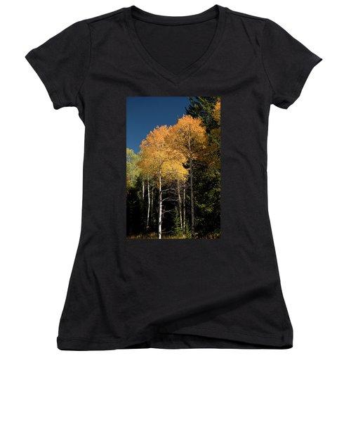 Women's V-Neck T-Shirt (Junior Cut) featuring the photograph Aspens And Sky by Steve Stuller