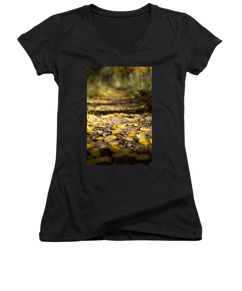 Aspen Leaves On Trail Women's V-Neck