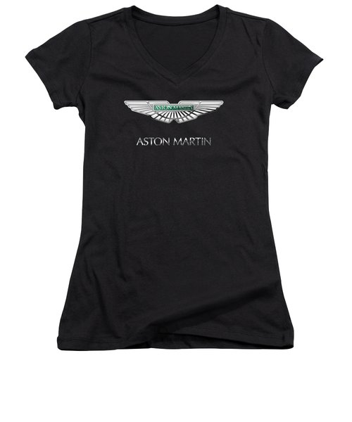 Aston Martin 3 D Badge On Black  Women's V-Neck T-Shirt (Junior Cut) by Serge Averbukh
