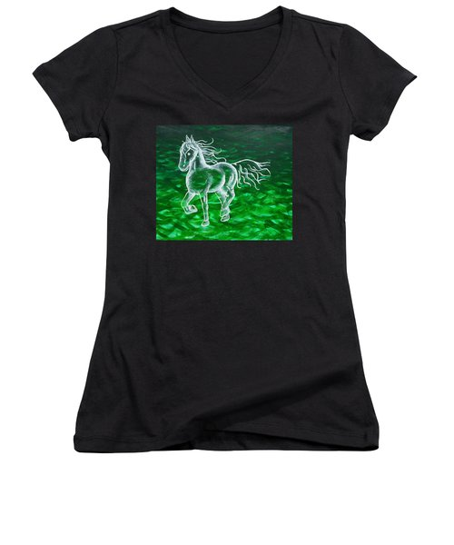 Astral Horse Women's V-Neck T-Shirt (Junior Cut)