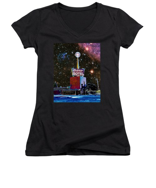 Women's V-Neck T-Shirt (Junior Cut) featuring the photograph Astro Motel by Jim and Emily Bush