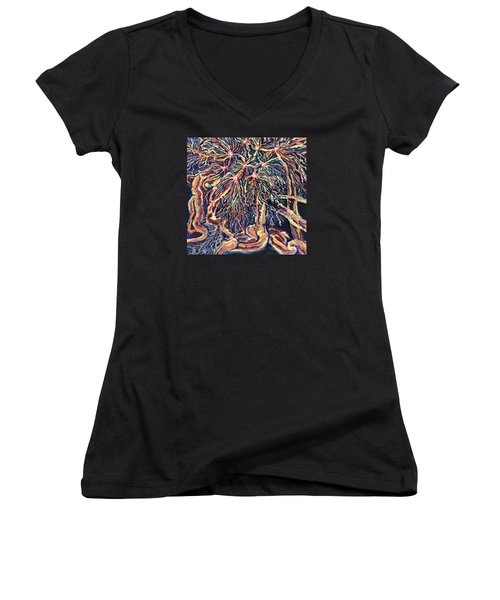 Astrocytes Microbiology Landscapes Series Women's V-Neck T-Shirt (Junior Cut) by Emily McLaughlin