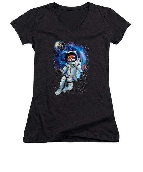 Astronaut Cat Women's V-Neck T-Shirt