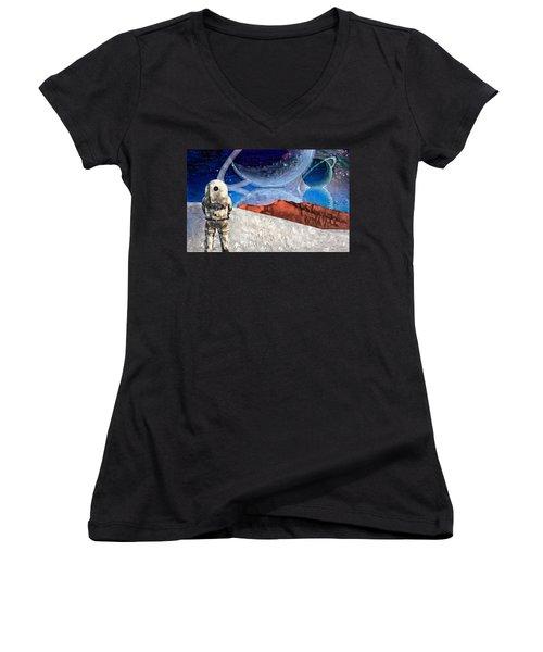 Astronaut On Exosolar Planet Women's V-Neck (Athletic Fit)