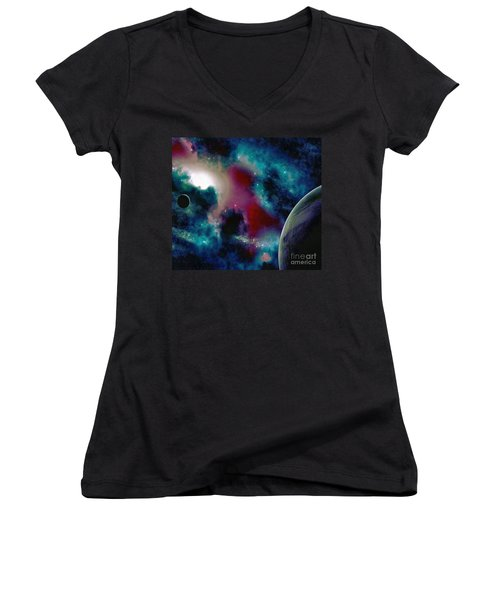Astronomy Painting Glammed Out Teal Women's V-Neck