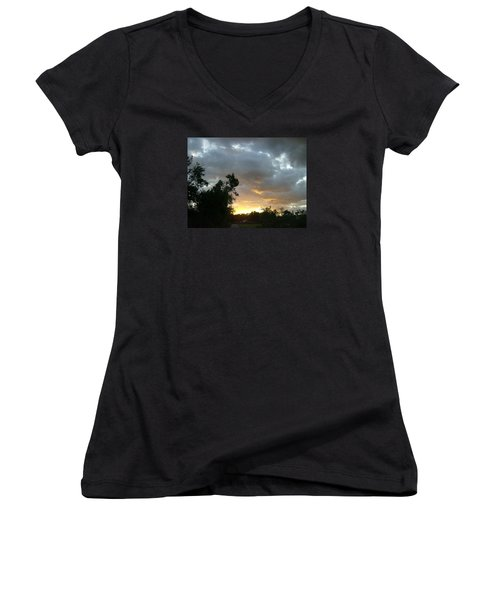 At Daybreak Women's V-Neck T-Shirt (Junior Cut) by Skyler Tipton