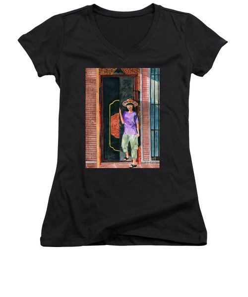 Women's V-Neck T-Shirt (Junior Cut) featuring the painting At Puri Kelapa by Melly Terpening